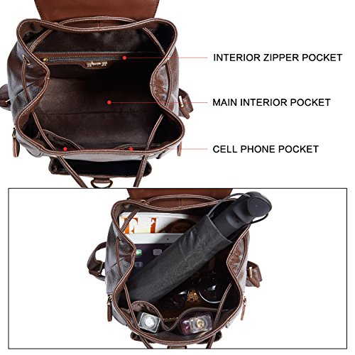 Travel for Bag Women Real BOYATU Brown Ladies Purse Fashion Backpacks Coffee Leather Shoulder IUxq8Z