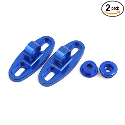 Exterior Accessories uxcell 2pcs Blue CNC Aluminum Alloy Motorcycle Rearview Mirror Fairing Adapters Holder