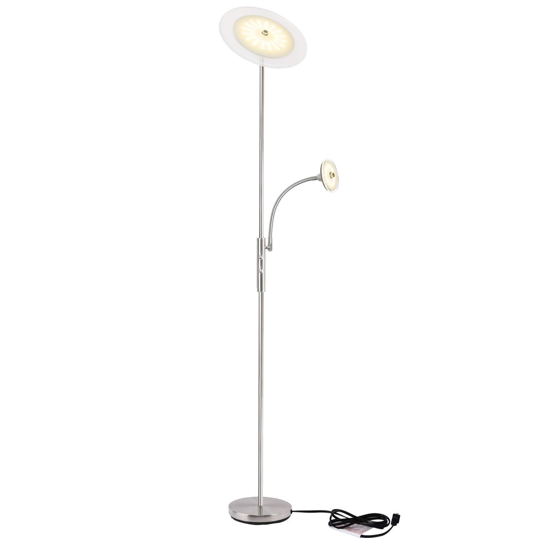 LED Deckenfluter dimmbar, Sunllipe LED Stehlampe Standleuchte modern 18W, 3.000K Warmweiß Stehleuchte mit 5W Leselampe und 4.0000 Stunden Lebensdauer für Wohnzimmer und Schlafzimmer - 180cm(Silber)