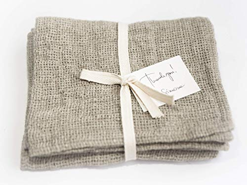 Washed Checkered Linen Tea Towels - 13x29
