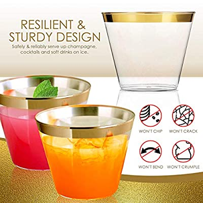 Premium Gold 9oz Cups – 100 Pack + 100 Napkins – Disposable or Reusable Plastic Decorative Glasses For Weddings, Baby Showers, Cocktails, Wine, Champagne Toasts, Sparkling Drinks – BPA Free