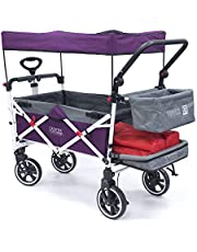 Creative Outdoor Push Pull Collapsible Folding Wagon Stroller Cart for Kids | Titanium Series | Beach Park Garden & Tailgate