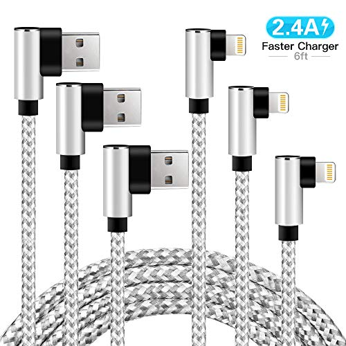 Charger iPhone 3Pack 6FT Right Angle Aluminum Alloy Nylon Braided iPhone Cable USB Compatible with iPhone Xs MAX XR X 8 8 Plus 7 7 Plus 6s 6s Plus 6 6 Plus 5 SE iPad, iPod(White, 6FT)