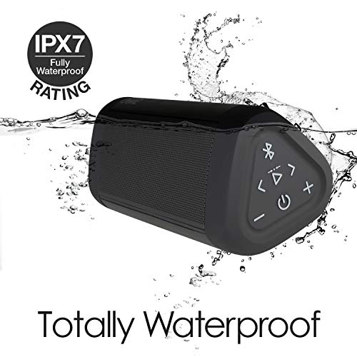 OontZ Angle 3 Ultra Waterproof 5.0 Bluetooth Speaker, 14 Watts, Hi-Quality Sound & Bass, 100 Ft Wireless Range, Play 2, 3 or More Speakers Together, OontZ App, Bluetooth Speakers (Black)