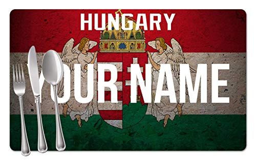 BRGiftShop Personalized Custom Name License Hungary Plate Set of 4 Table Placemats