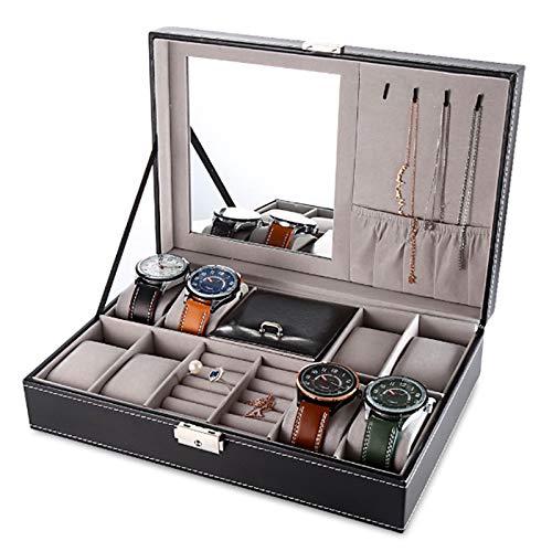 Relojero Alhajero Organizador Y Exhibidor de Relojes y Joyería, Mediano, con Tapa de Cristal, Acabado fino, para 8 Relojes