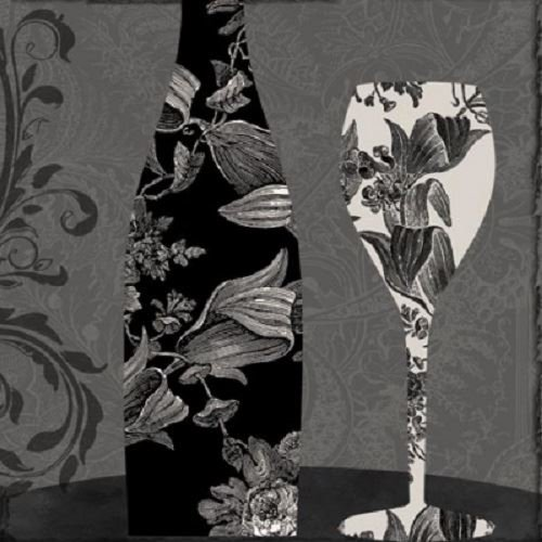 Black Dinner Wine Ideal for decoupage Napkin Art 4 x Paper Napkins