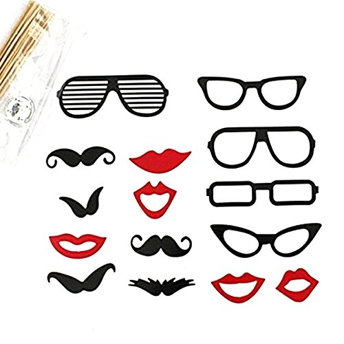 Tinksky A Set of 15pcs DIY Funny Glasses Moustache Red Lips On Sticks Christmas Wedding Birthday Party Photographing Photo Booth Props