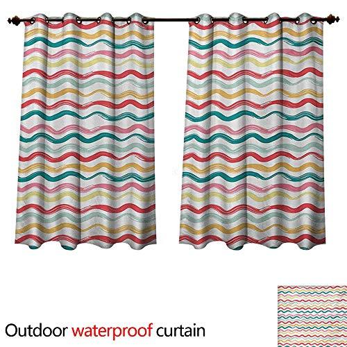 WilliamsDecor Striped 0utdoor Curtains for Patio Waterproof Pop Art Parallel Wavy Rough Lines Flush Brush Strokes Shaggy Groovy Boho Design W55 x L72(140cm x 183cm)