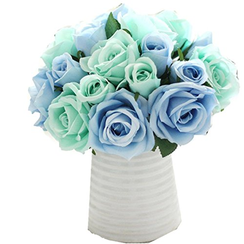 Ikevan 9 Heads Artificial Flowers Roses Silk Fake Flower Leaf Bridal Bouquet Home Wedding Floral Decor (Blue)