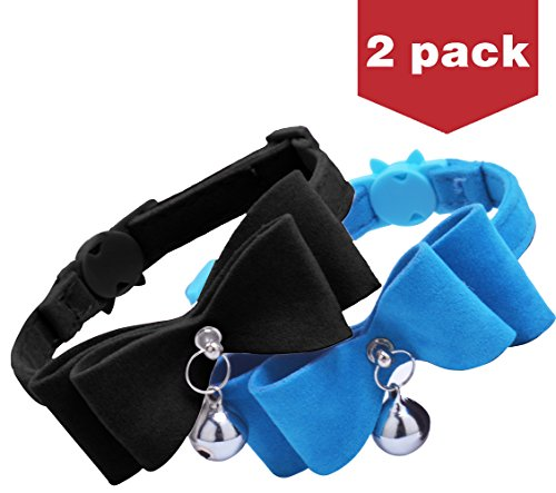 BINGPET 2Pcs Breakaway Bowtie Cat Collar with Bell Blue & Black ()
