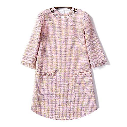 Elegant Women Winter Dress Vestidos Mujer Invierno 2018 Ladies Pearl Buckle Pink Gothic Dress N9132,Pink,S