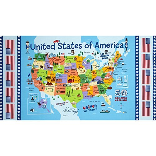 Timeless Treasures USA Map Panel Map Fabric (Timeless Treasures Quilting)