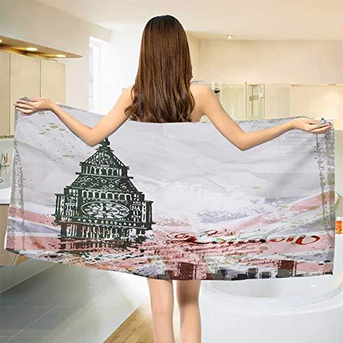 Chaneyhouse London,Bath Towel,Hand Drawn Illustration of Big