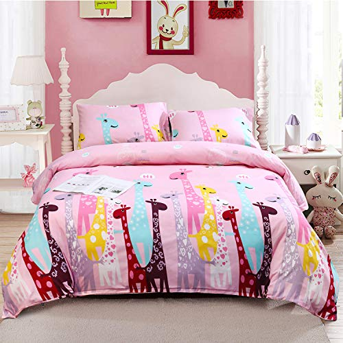 LAMEJOR Duvet Cover Sets Twin Cartoon Giraffe Bedding Set Comforter Cover (1 Duvet Cover+2 Pillowcases) Pink