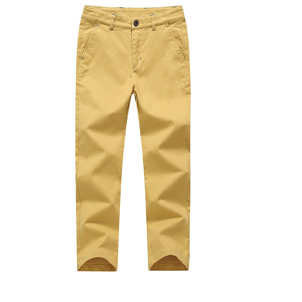 KID1234 Boys Trousers Chino Cotton Trousers Lightweight Elasticated Waist Pants Smart Formal Trousers for Boys 4-14 Years