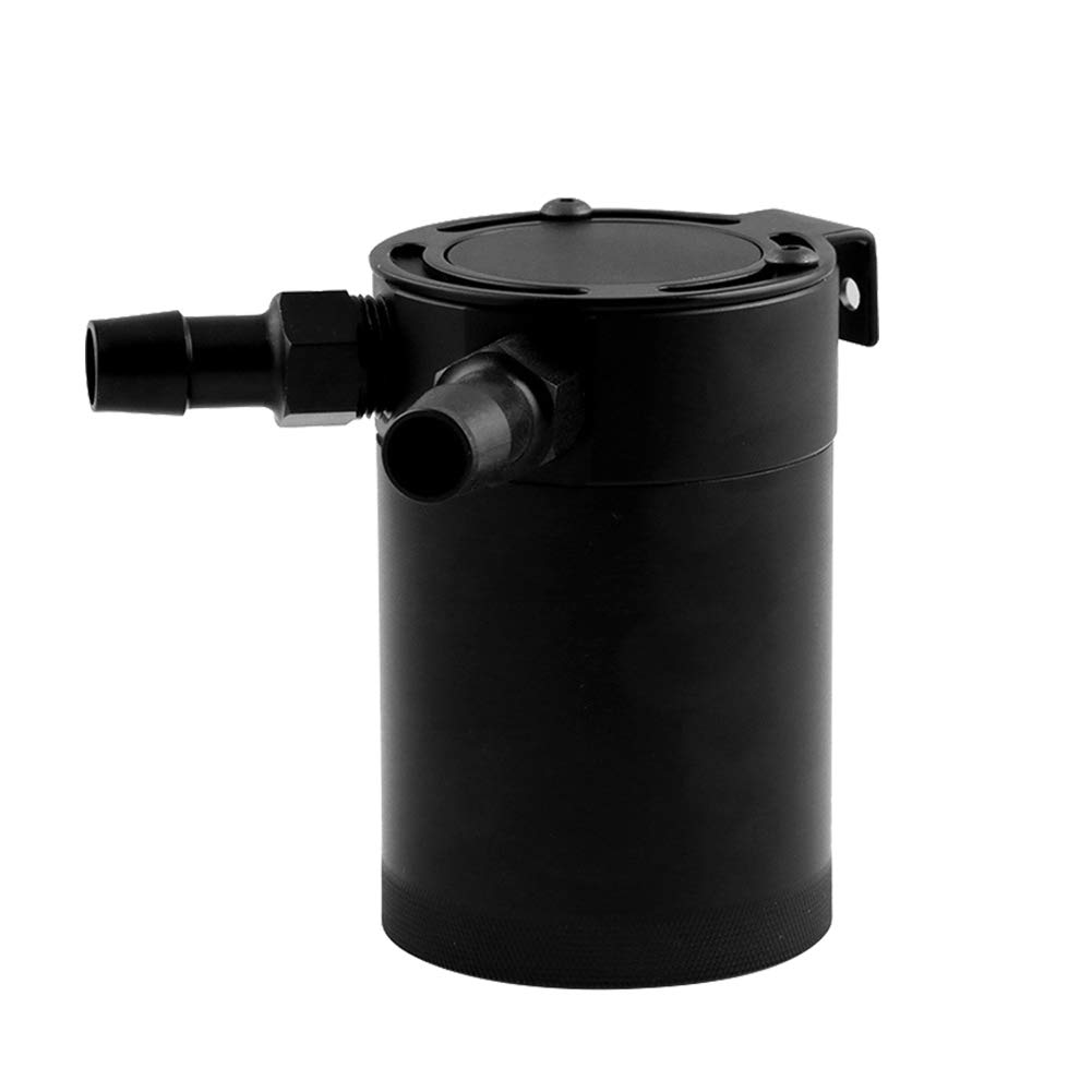 millet16zjh Oil Catch Can,Universal Aluminum Alloy Car Vehicle 2-Port Compact Baffled Tank Black