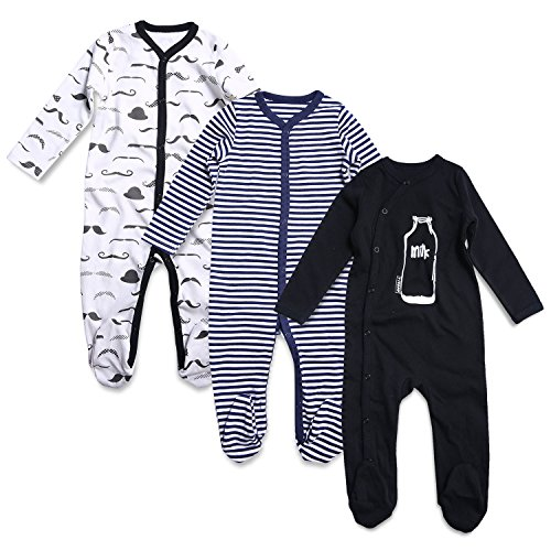 OPAWO Baby Boys' Footed Sleeper Pajamas 3 Pack (9-12 Months, (White Boys Pajamas)