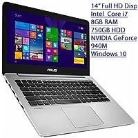 2016 Asus 14 Flagship Premium Ultra Slim Full HD Laptop, Intel Core i7-5500U 2.4GHz, 8GB RAM, 750GB HDD, NVIDIA GeForce 940M GDDR3 2GB, Windows 10
