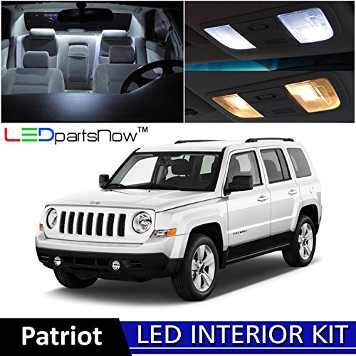 7 Jeep Patriot LED Interior Lights Accessories Replacement Package Kit (6 Pieces), WHITE ()