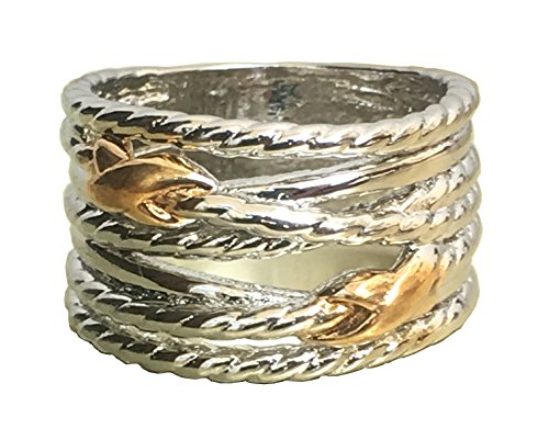 David Yurman Mens Rings - Gempara Designer Inspired Double X Crossover Ring with tipple Coated 18K Gold over Silver (7)