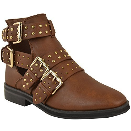 Shoes Gold Buckle Leather Heel Faux Low Ankle Chelsea Out Tan Cut Studs Womens Studded Boots Ladies Biker PqFXxBZwW