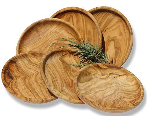 Teller Set LAMAMMA 6-teilig – Olivenholz mit sehr schöner Maserung – geölt – Durchmesser ca. 15 cm, Höhe ca. 3 cm