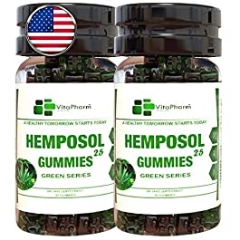 2-Pack HEMPOSOL 25 Gummies | Gummy Bear Hemp Oil Extract for Better Sleep,Pain Relief,Stress,Anxiety and Weight Loss. THC Free. Slams Any 1000mg 3000mg and 5000mg Pills.Hemp Seed Oil.Omega 3 6 9