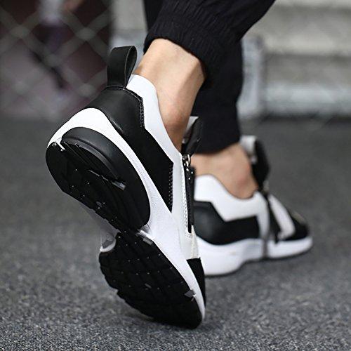 Men's Zipper Skidproof PU Leather Flat Breathable Shock-absoring Sports Shoes Black White MPSKXKpLZ