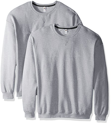 Fruit of the Loom Men's Crew Sweatshirt (2 Pack), Athletic Heather, (Fruits Of The Loom Sweater)