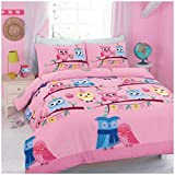 Hendem Cute Owl Duvet Cover Modern Bedroom Children Quilt Cover Floral Print Bed Linen With Pillow Case (Double, Cute Owl Pink)