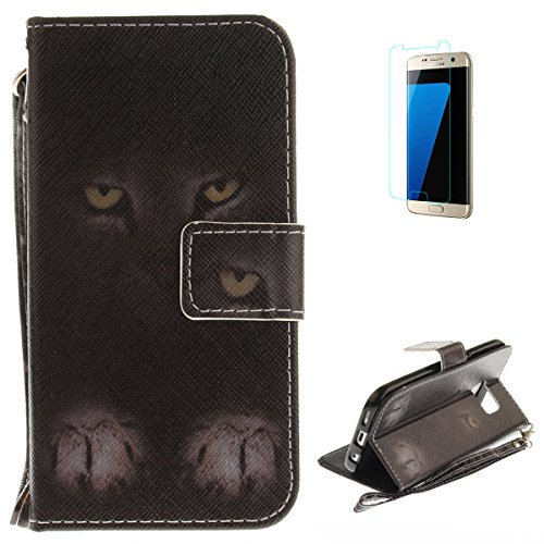 Samsung Galaxy S7 Flip Magnetic Leather Case [Free Screen Protector] KaseHom Half Face Cat Animals Painted Design Folio Wallet Case with [Card Slot] [Hand Strap] Slim Protective Cover Holster -