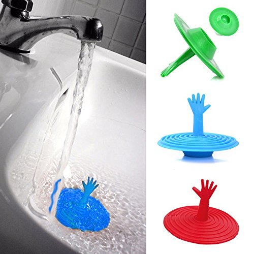 MAZIMARK--1× Home Washroom Rubber Hand Shape Water Sink Plug Bathtub Stopper Easy to Use by MAZIMARK