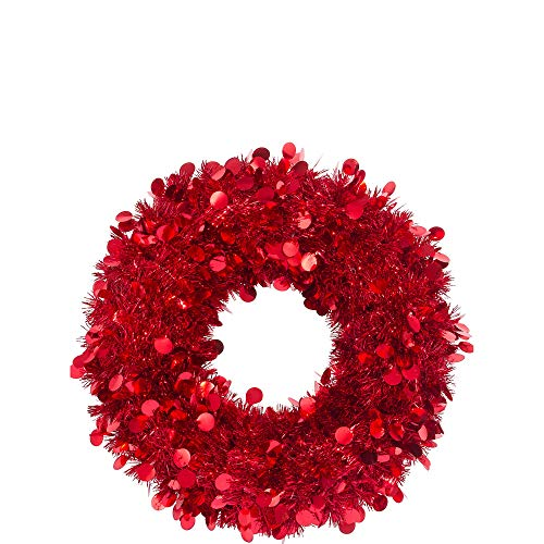 (Festive Christmas Tinsel Wreath Party Decoration, Red, Foil 17