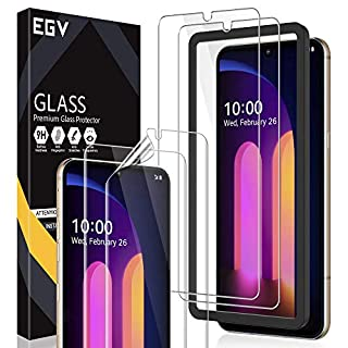 EGV [4 Pack] Screen Protector for LG V60 ThinQ 5G (Fit for The Dual Screen), [2 Pack] Tempered Glass and [2 Pack] Flexible TPU Film, Case Friendly, 9H-Hardness Anti-Scratch