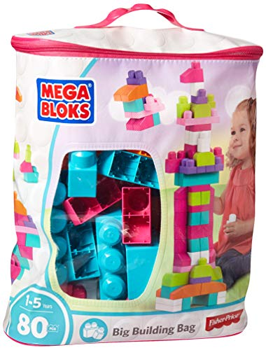Mega Bloks Big Building Bag, Pink, 80 Piece -