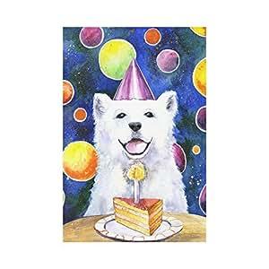 interestprint perro feliz cumpleaños poliéster bandera de Jardín Casa Banner 12x 18inch, globos y Cake Bandera Decoración para Fiesta Patio Decoración de la casa al aire libre