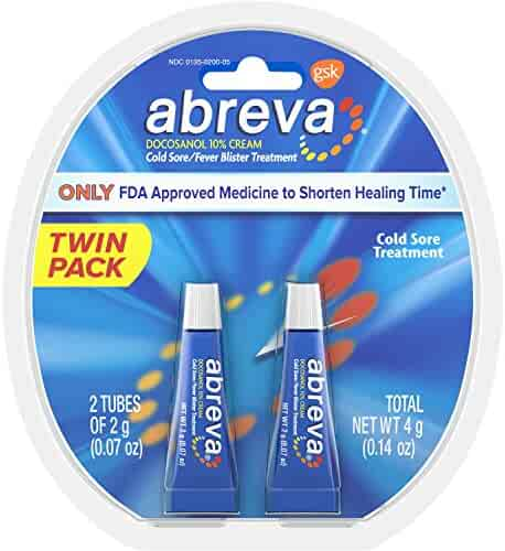Abreva Docosanol 10% Cream Tube, Only FDA Approved Treatment for Cold Sore/Fever Blister, 4 grams Twinpack (two 2gram tubes)