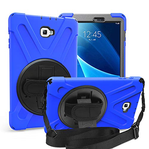 TSQ Samsung Galaxy Tab A 10.1 Case, SM-T580 Heavy Duty Rugged Protective Shockproof Kids Case with 360 Degree Rotating Stand, Hand Stap& Shoulder Strap for Galaxy Tab A 10.1 Inch Tablet Cover-Blue (Protective Case Harness)