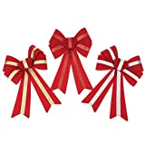 Homeford 5 Loop Flocked Gold Glitter Bows, 13-Inch, 3-Piece