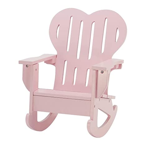18 Inch Doll Furniture Pink Outdoor Adirondack Rocking Chair With Heart Shaped Back Fits American Girl Dolls