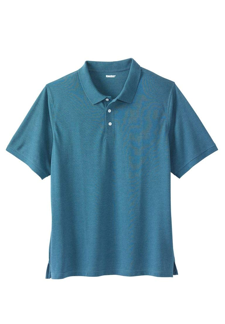 KingSize Men's Big & Tall Pique Polo Shirt, Heather Midnight Teal Tall-XL