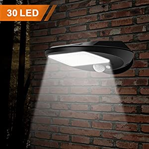 Solar Lights Outdoor, EMIUP Super Bright 30 LED Solar Motion Sensor Security Lights, Waterproof Wireless for Driveway Garden Wall Deck Yard Patio Stairway (30 LED, 1 PACK)