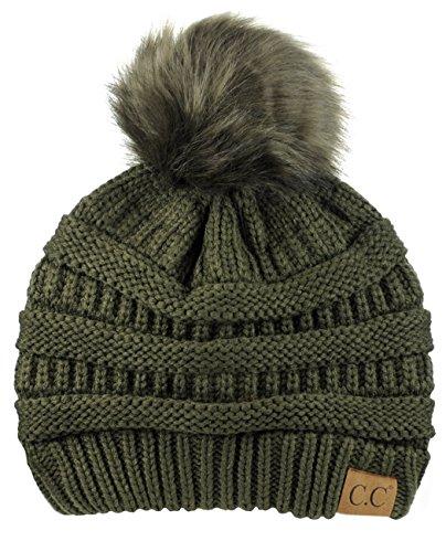 Beanie Womens Olive - NYFASHION101 Exclusive Soft Stretch Cable Knit Faux Fur Pom Pom Beanie Hat - Dark Olive Pom
