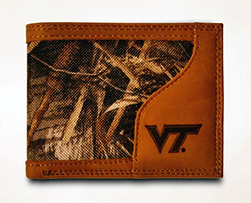 (Virginia Tech Hokies Bi-fold Realtree Max-5 Camo & Leather Wallet - Zep-Pro - NCAA)