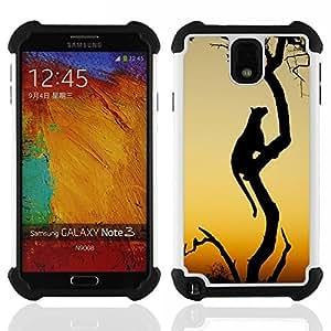 """SAMSUNG Galaxy Note 3 III / N9000 / N9005 - 3 en 1 impreso colorido de Altas Prestaciones PC Funda chaqueta Negro cubierta gel silicona suave (Leopardo del gato grande de África desierto Sunset"""")"""