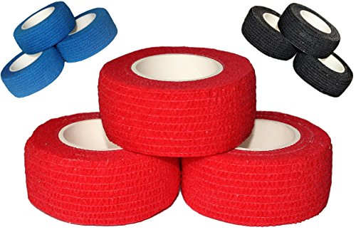 Sports grip tape by Bardownski (3 pack) - Use it to get a better grip on anything!Hockey stick grip tape. Baseball bat grip, weight grip, tennis grip, hunting grip, self adhesive wrap bandage (Red) Bat Griptape