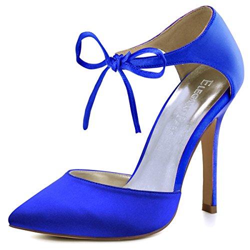 Bridal Bow - ElegantPark HC1610 Women's Pointed Toe High Heel Lace-up Bow D`Orsay Pumps Satin Wedding Dress Shoes Royal Blue US 7