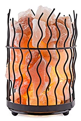 Crystal Decor Natural Himalayan Salt Metal Basket Lamp with Dimmable Cord - Choose Your Variation