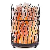 Crystal Decor Natural Himalayan Salt Metal Basket Lamp with Dimmable Cord